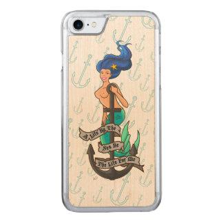 mermaid_msblue_slimwood carved iPhone 8/7 ケース