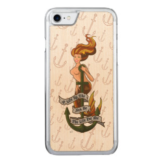 mermaid_msorange_slimwood carved iPhone 8/7 ケース