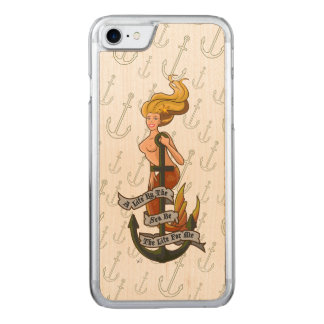 mermaid_msyellow_slimwood carved iPhone 8/7 ケース