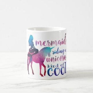 Mermaid Riding Unicorn Colorful cool Quote コーヒーマグカップ