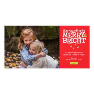 Merry & Bright Fun Christmas Lights Photo Card カード