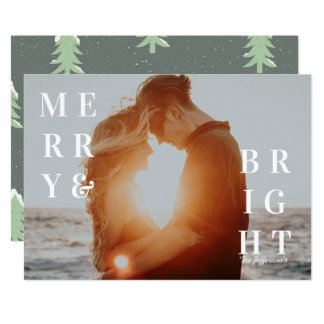 Merry & Bright Photo Holiday Card カード