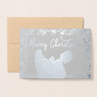 merry christmas Angel Silver Floral Foil Card 箔カード