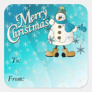 Merry Christmas Blue Snowflake Snowman スクエアシール