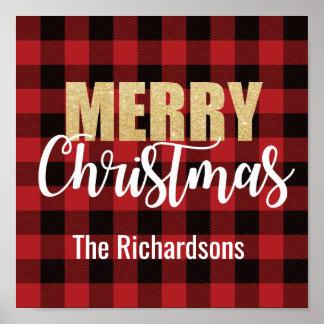 Merry Christmas Decoration on Plaid ポスター