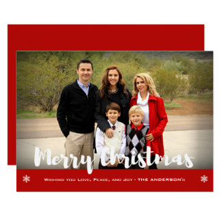 Merry Christmas Family Photo Holiday Greeting Card カード