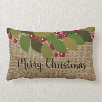 Merry Christmas! | Faux Burlap Rustic ランバークッション