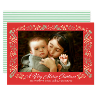 Merry Christmas Foliage Frame Holiday Photo カード