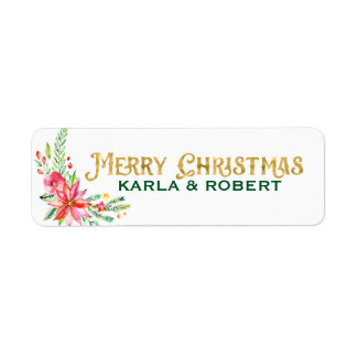 Merry Christmas Gold Typography and Floral Bouquet ラベル