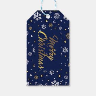 Merry Christmas Gold & White Snowflakes Elegant ギフトタグ