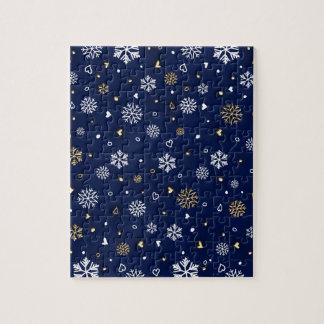 Merry Christmas Gold & White Snowflakes Elegant ジグソーパズル