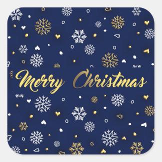 Merry Christmas Gold & White Snowflakes Elegant スクエアシール