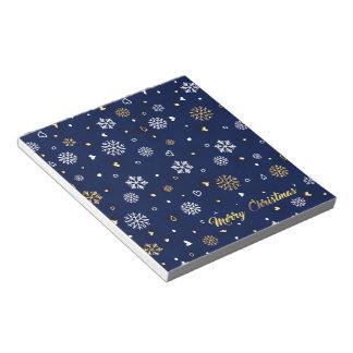Merry Christmas Gold & White Snowflakes Elegant ノートパッド