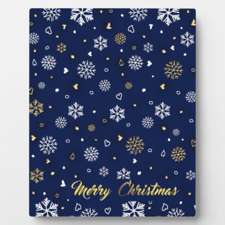 Merry Christmas Gold & White Snowflakes Elegant フォトプラーク