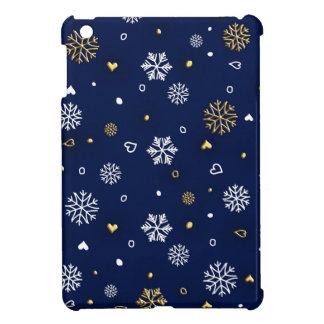 Merry Christmas Gold & White Snowflakes Elegant iPad Miniケース