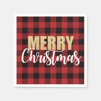 Merry Christmas Holiday Party Napkins スタンダードカクテルナプキン