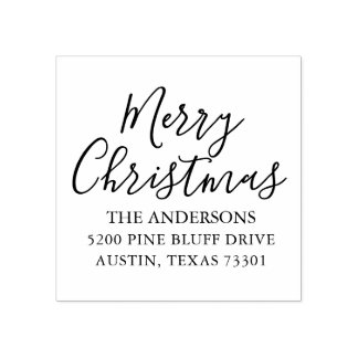 Merry Christmas | Holiday Return Address Stamp ラバースタンプ