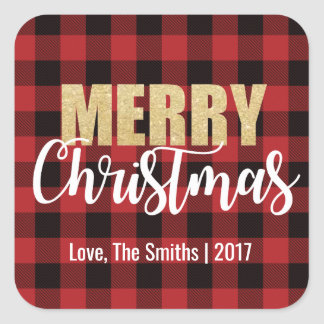 Merry Christmas Holiday Stickers on Plaid Back スクエアシール