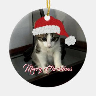 Merry Christmas Kitten Ornament セラミックオーナメント