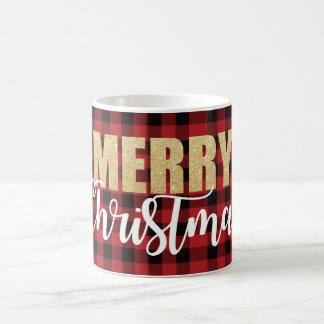 Merry Christmas Mug on Plaid Background コーヒーマグカップ