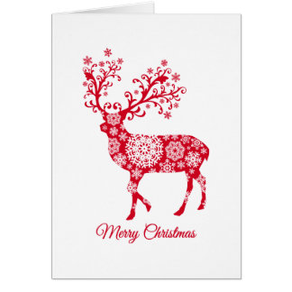 Merry Christmas, red deer with snowflakes カード