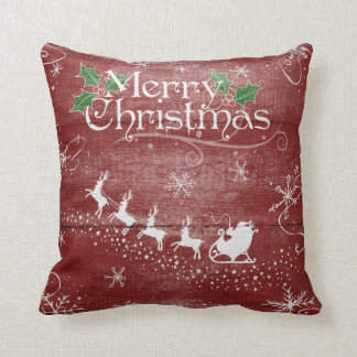 Merry Christmas Santa Claus Sleigh Snow Pillow クッション