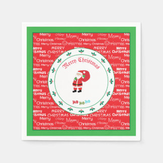 Merry Christmas Santa Waving スタンダードカクテルナプキン