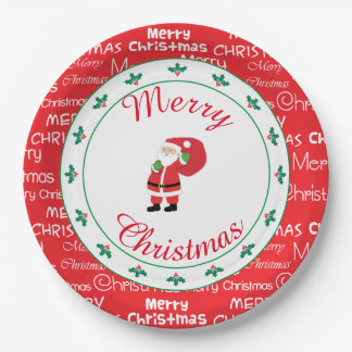 Merry Christmas Santa Waving ペーパープレート