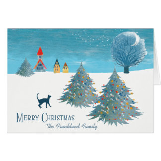 Merry Christmas Scene Card with a Cat カード