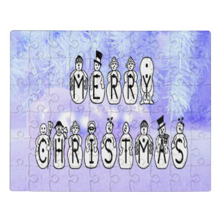 Merry Christmas Snow People Font, Blue Tint Snow ジグソーパズル