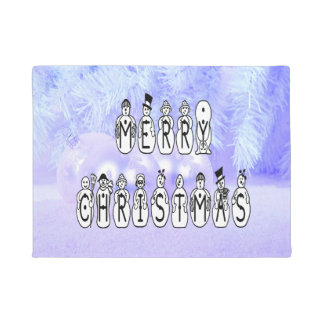 Merry Christmas Snow People Font, Blue Tint Snow ドアマット