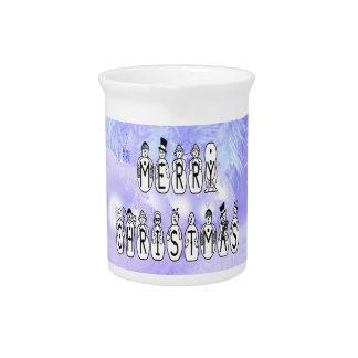 Merry Christmas Snow People Font, Blue Tint Snow ピッチャー