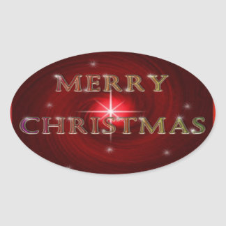 Merry Christmas Sticker 楕円形シール