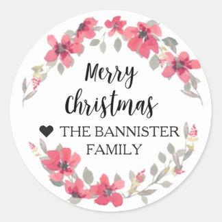 Merry Christmas Sticker - Berry Red xmas ラウンドシール