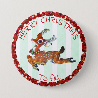 Merry Christmas to all, Vintage Reindeer Stickers 7.6cm 丸型バッジ