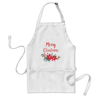 Merry Christmas Watercolor Poinsettia Apron スタンダードエプロン