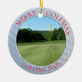 Merry Golfmas Golfing Dad Golf Photo Ornament セラミックオーナメント