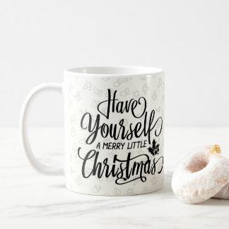 Merry Little Christmas Black Script Pattern Mug コーヒーマグカップ