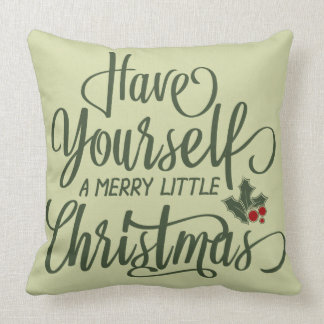 Merry Little Christmas | Holly Berries & Text クッション