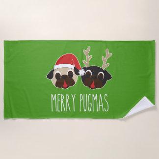 Merry Pugmas Pug Santa and Reindeer Beach Towel ビーチタオル