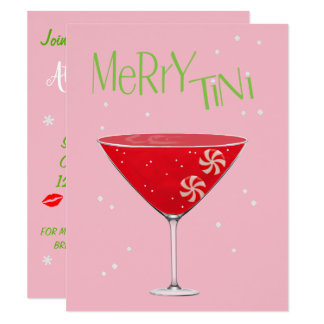 Merry-tini  Merry Martini Holiday Party Invitation カード