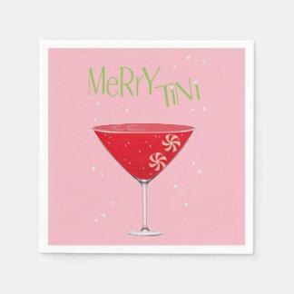 Merry-tini Merry Martini Holiday Party Napkins スタンダードカクテルナプキン