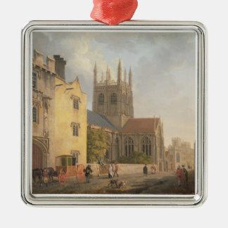 Mertonの大学、オックスフォード1771年(キャンバスの油) シルバーカラー正方形オーナメント