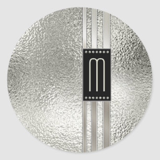 Metal Stripes on Glass Monogram Beige ID443 ラウンドシール