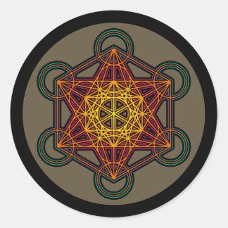 metatronの立方体の曼荼羅のステッカー ラウンドシール