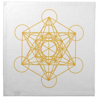Metatronの立方体の金ゴールド ナプキンクロス