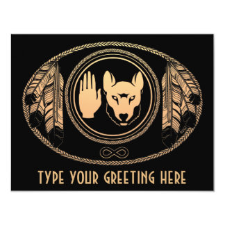 Metisのオオカミの招待状の名前入りな反逆の芸術カード カード