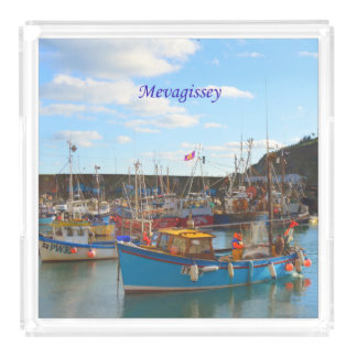 Mevagisseyコーンウォールイギリスの写真の漁船 アクリルトレー