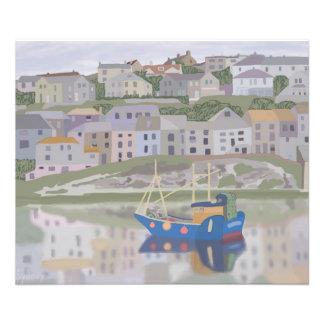 Mevagissey港の写真の紙(サテン) フォトプリント