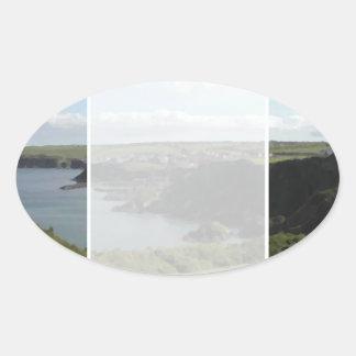 Mevagissey。 コーンウォール。 景色の沿岸眺め 楕円形シール